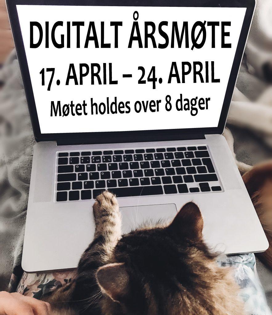 EN mac book er oppslått og vi ser skjermen og tastaturet. PÅ skjermen står det: DIGITALT ÅRSMØTE 17. APRIL – 24. APRIL , møtet holdes over 8 dager. Det ligger en tigerstripet katt foran med en pote mot tastaturet.  Vi ser bare bakhodet med ørene og poten til katten.
